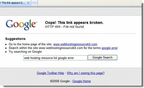 Google Toolbar neemt 404-pagina over