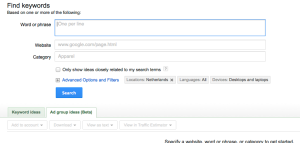 Google Keyword Tool interface