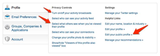 Privacy instellingen LinkedIn