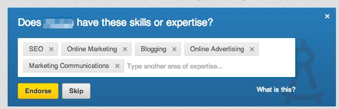 Endorse skills in LinkedIn