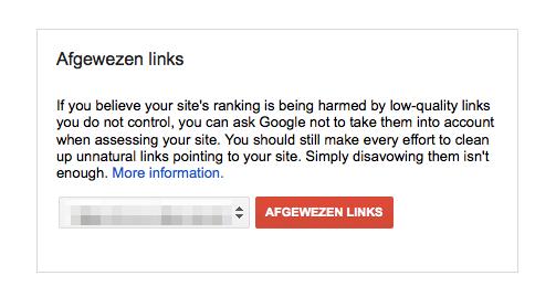 Afgewezen links in de Disavow backlink tool