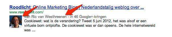 authorrank voorbeeld in de zoekresultaten