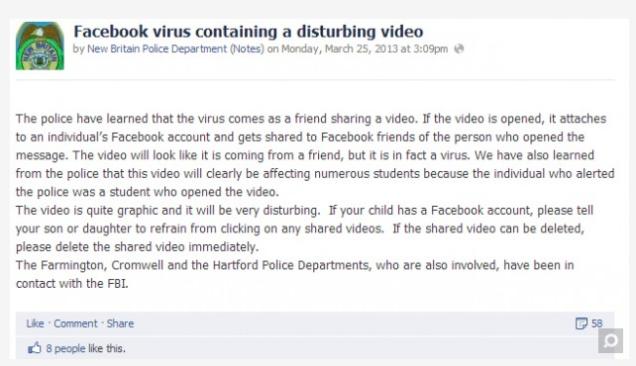 Facebook virus waarschuwing