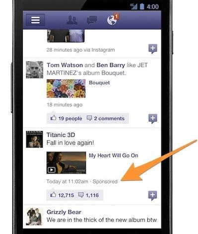 gesponsord verslag facebook op mobiel apparaat
