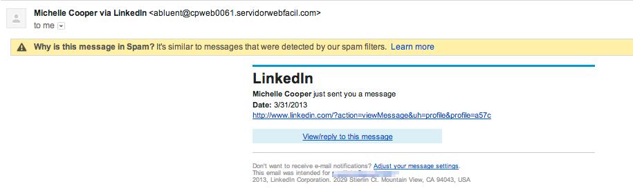 LinkedIn scam en malware mail