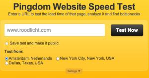 Laadtijd website test via Pingdom